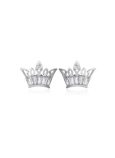 1,20 ct Pırlanta Efekt Altın Crown Trapes Küpe-Tophills Diamond Co.